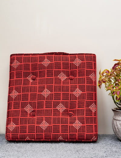 Buy hand embroidered floor cushion online red throw pillow striped large cushion online big size thick cotton cushion at soulcraf.com