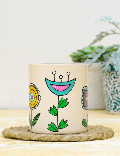 Buy handmade ceramic mugs for gift for girls unique design handpainted coffee cup online at soulcraf.com