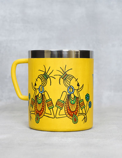 Buy long lasting travel yellow coffee mug handcrafted in india online at soulcraf.com