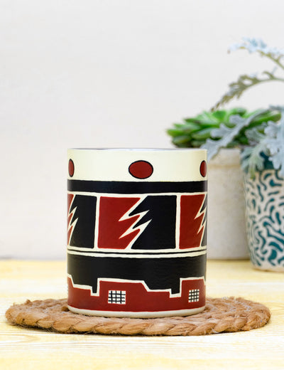 Buy maroon stainless steel travel mug designer handcrafted coffee mug online india at soulcraf.com