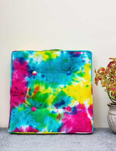 Buy online handmade floor pillow multicolor cotton large cushion tie and dye pillow with handle stylish floor cushion at soulcraf.com