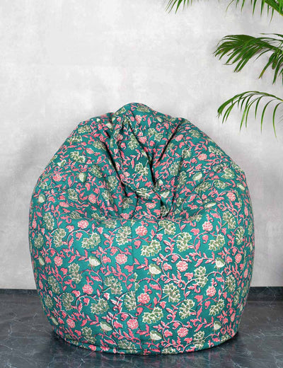 Buy quirky pure cotton teal cotton bean bag online in India at soulcraf.com