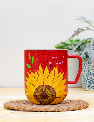 Buy red floral print mug for gift best handmade large cups online india at soulcraf.com