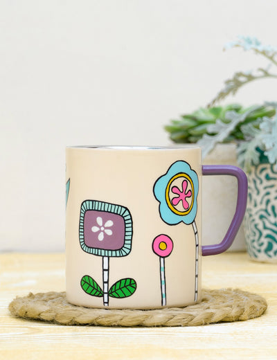 Buy statinless steel durable pink coffee cup designer personlised coffee mug online at soulcraf.com