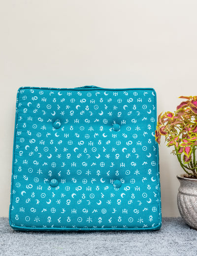 Buy teal floor pillow for home décor long cushion online in India leather floor cushion hand block printed pillow at soulcraf.com