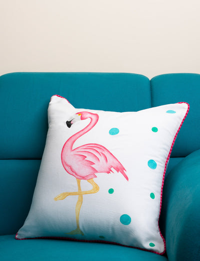 Faux leather luxury deco cushion covers handcrafted branded bird print pink color polka dots 16*16 white lace at soulcraf.com
