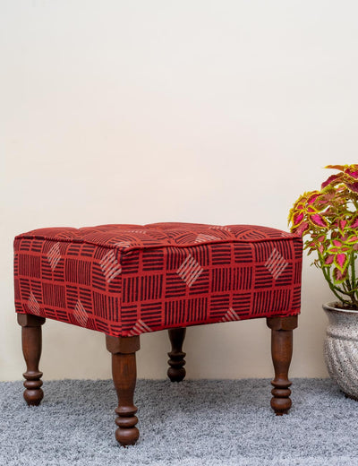Shop pouffe with wooden legs cotton sheeting cane sofa and chairs upholstered giant round handloom royal look at soulcraf.com