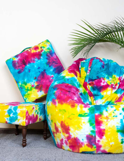 Buy multicolor quirky pure cotton xxxl bean bag cover floor cushion pouffe wooden stool combo online at soulcraf.com