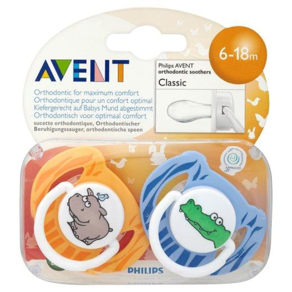 Philips Avent Orthodontic Soothers Classic Animal 6-18 m x2