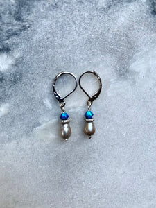 Steel Grey Fresh Water Pearl Teardrop, Blue Swarovski Crystal, Earrings