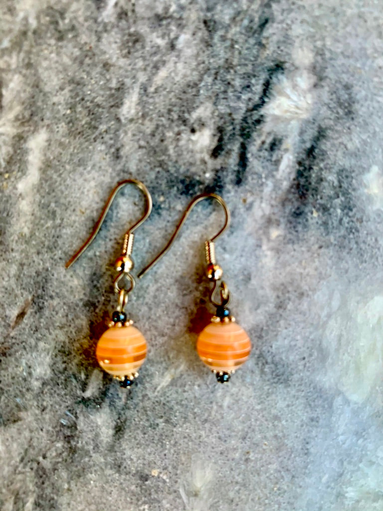 Orange Stripe Ball Earrings