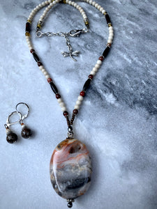Multi-Colour Agate Stone, Jasper beads with Jasper Earrings