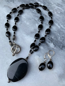 Black Sardonyx Stone Necklace and Black Oval Earrings