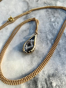 Grey Agate Pendant, Gold Plated Chain