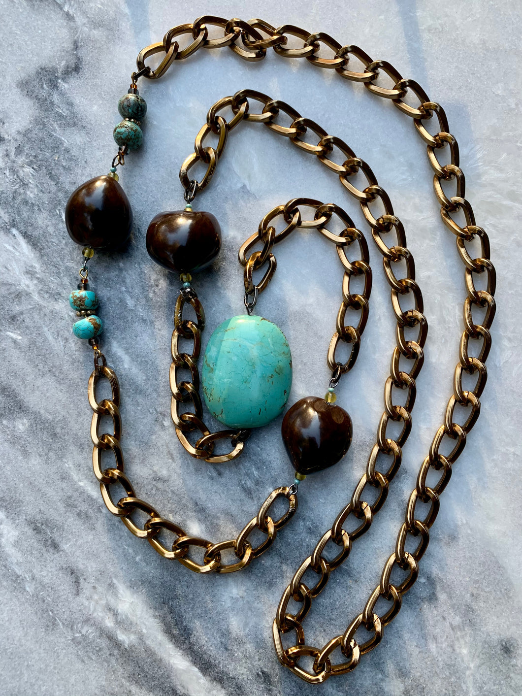 Howlite Turquoise, Brown Nut Shell, Antique Brass Plated Chain