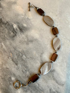 Grey Oval Shell, Brown Rectangle Wood, Bracelet