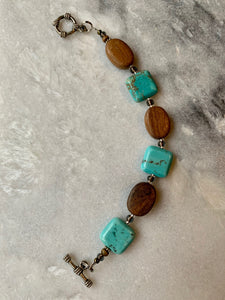 Blue Howlite Stone and Brown Wood, Bracelet