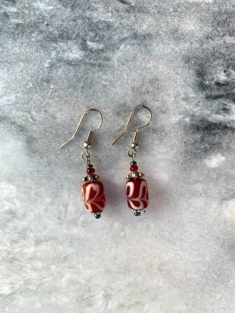 Cranberry Red and White Swirl Glass Earrings