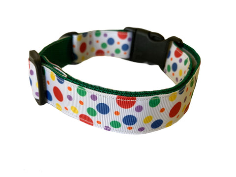 Rainbow Dots Dog Collar