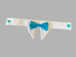 White & Sky Blue Bow