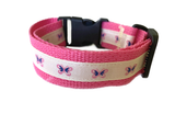 Pink Butterflies - Dog Collar