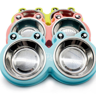 Dual Stainless Steel Dog Bowls With Eyes