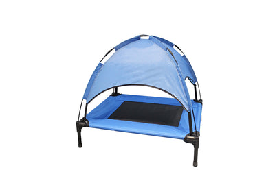 Foldable Elevated Dog Cooling Bed with Roof
