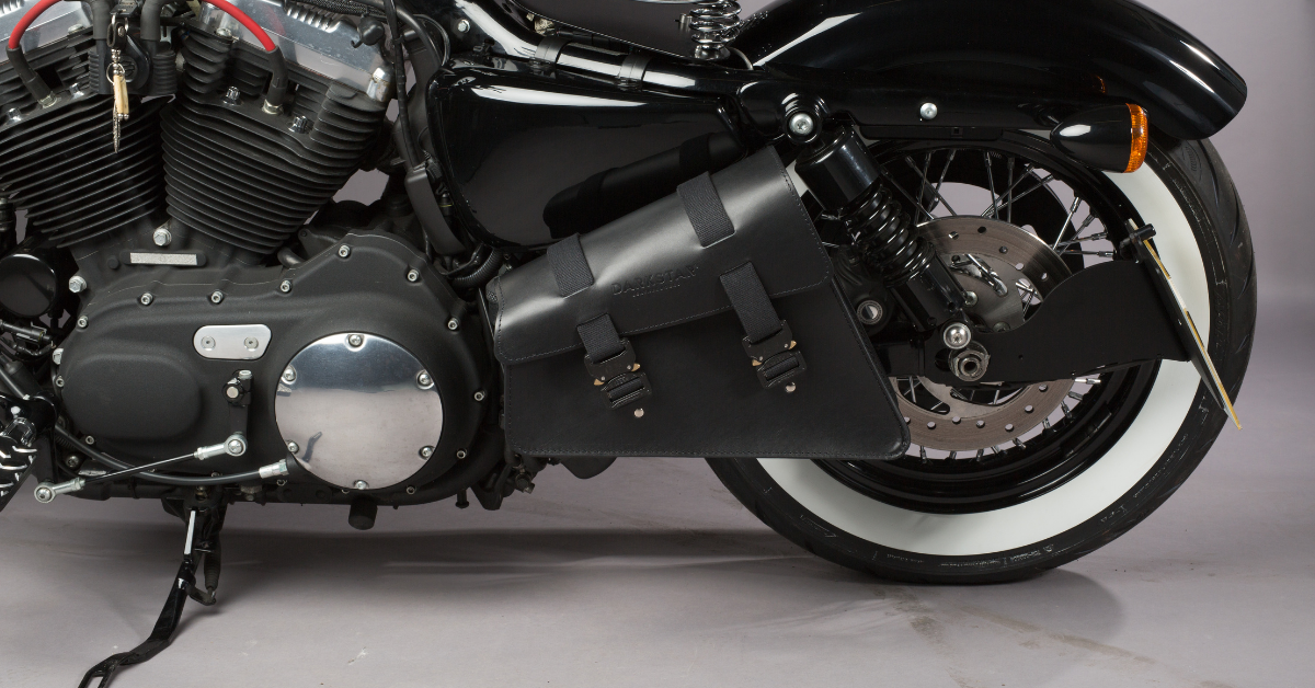Explorer Swingarm bag on Harley Sportster in Black leather with Cobra buckles