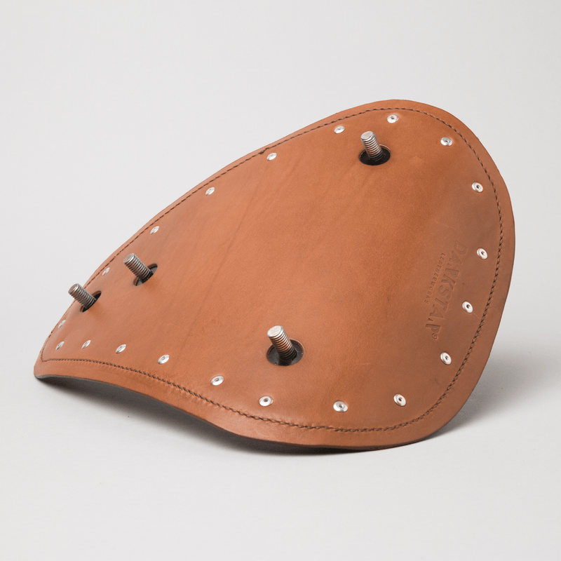 Sportster bobber seat Tan leather back view