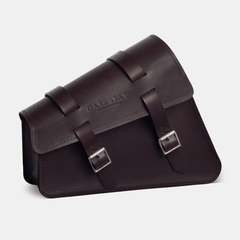 Sporster swingarm bag Harley saddlebag in Dark brown leather side view 2