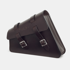 Sportster swingarm bag Harley saddlebag in Dark brown leather side view