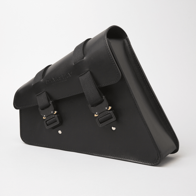 Sportster swingarm bag with Cobra buckles Harley saddlebag in Black leather side view