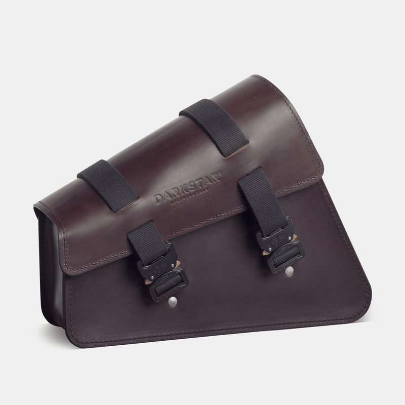 Sportster swingarm bag with Cobra buckles Harley saddlebag in Dark brown leather side view 2
