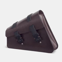 Sportster swingarm bag with Cobrta buckles Harley saddlebag in Dark brown leather side view