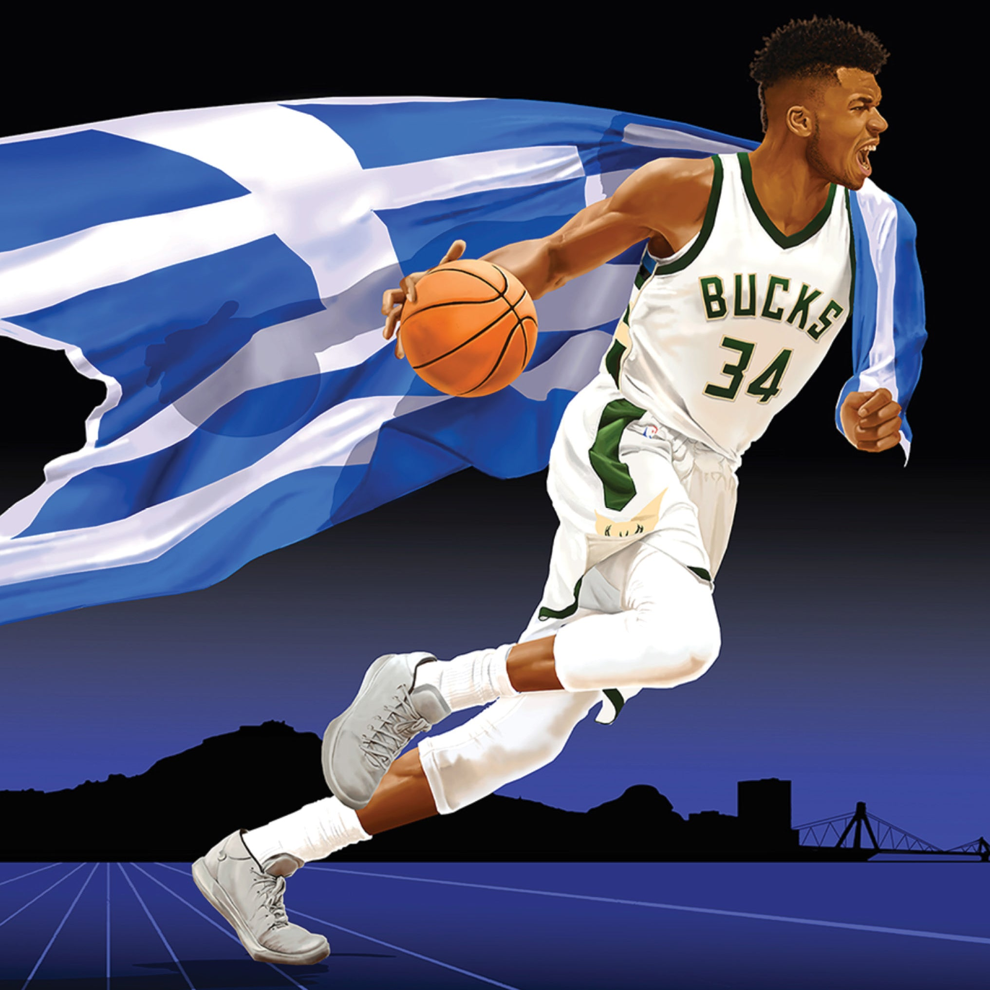 Giannis is mid-dribble with a basketball, carrying a large, billowing Greek flag. Behind him is a silhouette of Athens.