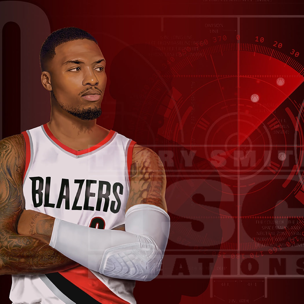 Damian Lillard looks pensive in front of a dramatic red background of a techy basketball court.