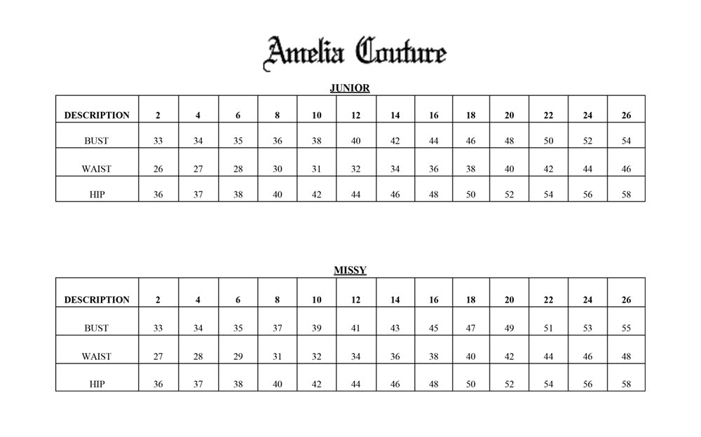 Amelia Couture size chart