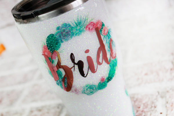 Monogrammed Glitter Tumbler with Succulents