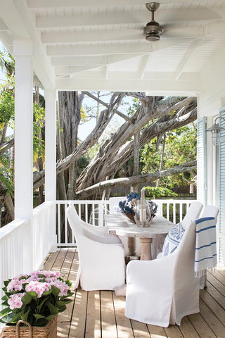 Outdoor Dining Space In Covered Porch