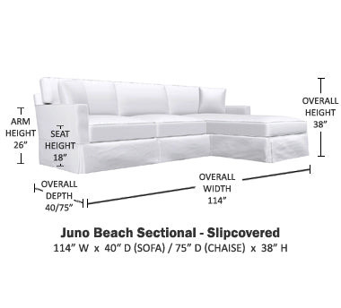 slipcovered sofa specs