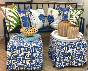 Geometric Blue And White Ottoman