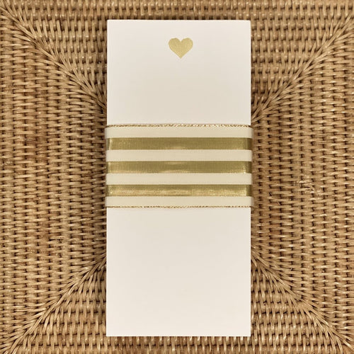 Gold Foil Heart Pad in Lucite Box