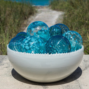 Aqua Speckled Hand Blown Sphere Assortment - Set of 10