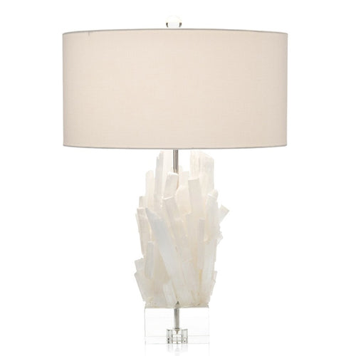 Selenite Table Lamp with Crystal Base