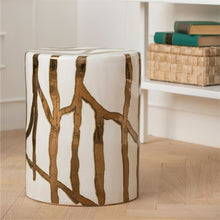 Load image into Gallery viewer, Willow Gold & White Ceramic Stool