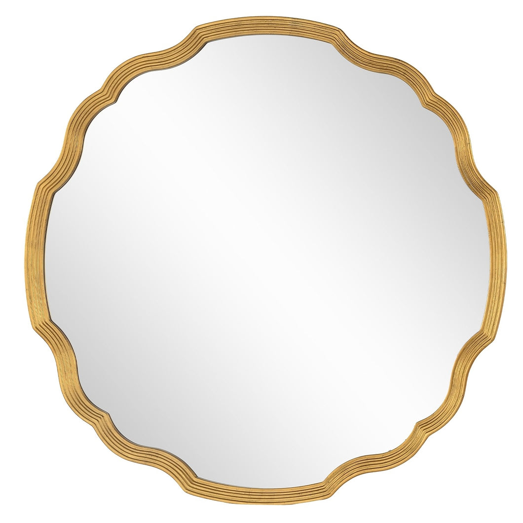 Distressed Gold Leaf Round Mirror