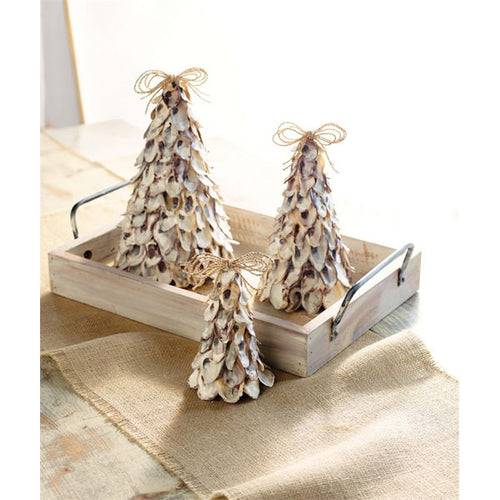 Oyster Shell Christmas Trees - Set of Three