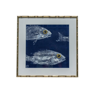 Gyotaku Fish Print on Marine Linen - School
