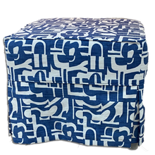 Load image into Gallery viewer, Geometric Blue And White Ottoman