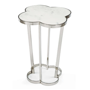 Clover Side Table in Marble and Nickel